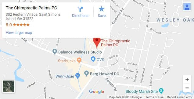 Saint Simons Island GA Chiropractic Map